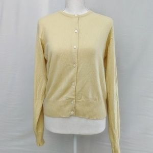 J. Crew 100% cashmere pale yellow cardigan